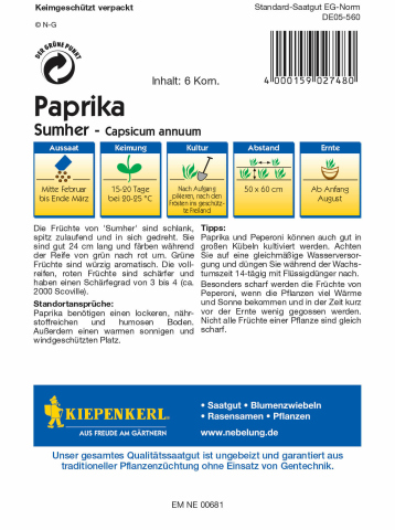 Kiepenkerl Paprika Sumher 1 Portion