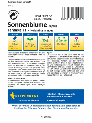 Kiepenkerl Sonnenblume Fantasia Mix 1 Portion